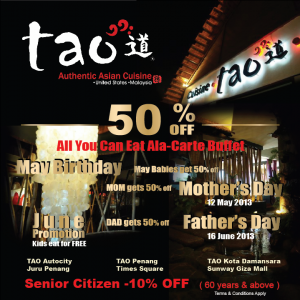 50% OFF ALL YOU CAN EAT BUFFET AT TAO