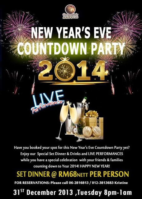 NEW YEAR'S EVE COUNTDOWN PARTY 2014 AT GEOGRAPHER CAFE ON JONKER STREET, MALACCA