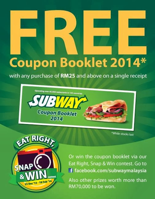 FREE COUPON BOOKLET 2014 AT SUBWAY
