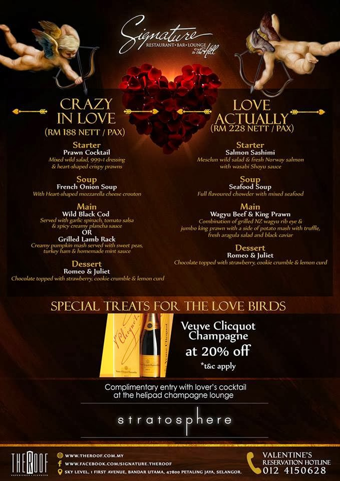 Valentine Promotion At Signature The Roof Malaysian Foodie