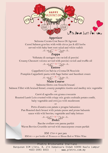 VALENTINE PROMOTION AT PIETRO RISTORANTE ITALIANO